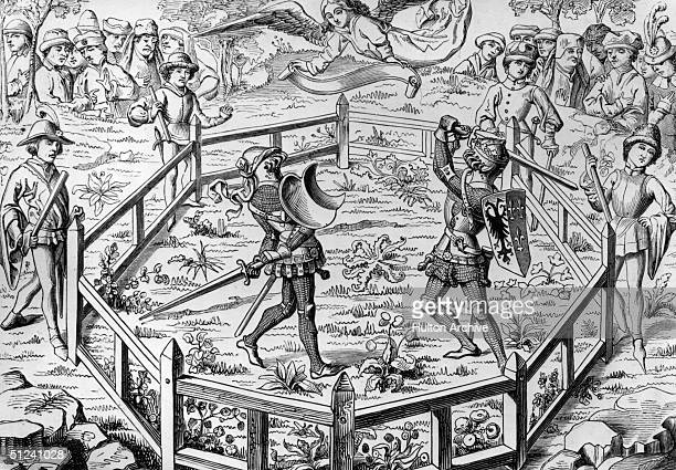 Circa 1300 A medieval trial by combat fought inside a wooden ring The victor would be deemed to have been vindicated by God Original Publication From...