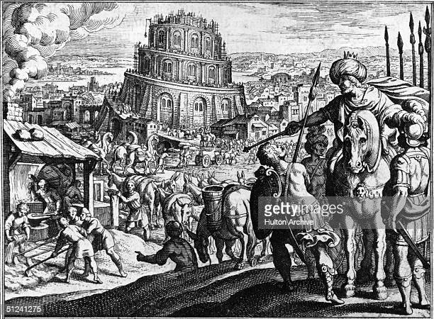 Circa 1300 Building the Tower of Babel Original Publication From an early German book