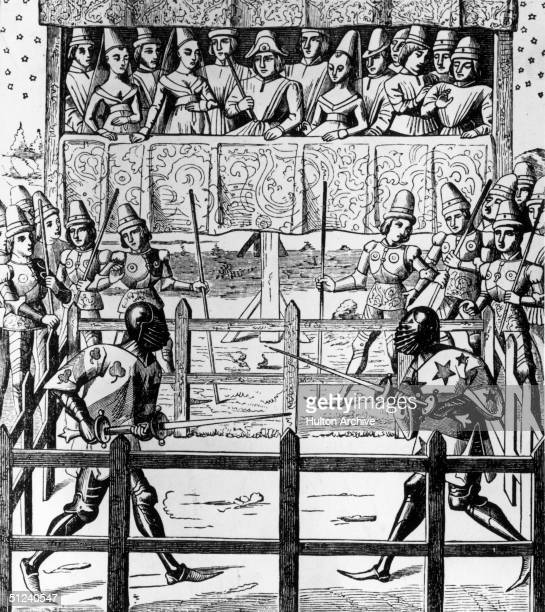 Circa 1350, A medieval trial by combat inside a fenced ring. The victor would be deemed to have been vindicated by God.