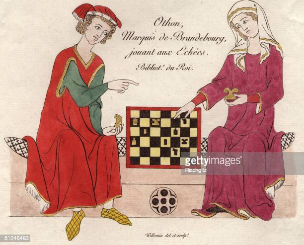 Circa 1350, Othon, the Marquis de Brandebourg, playing chess.