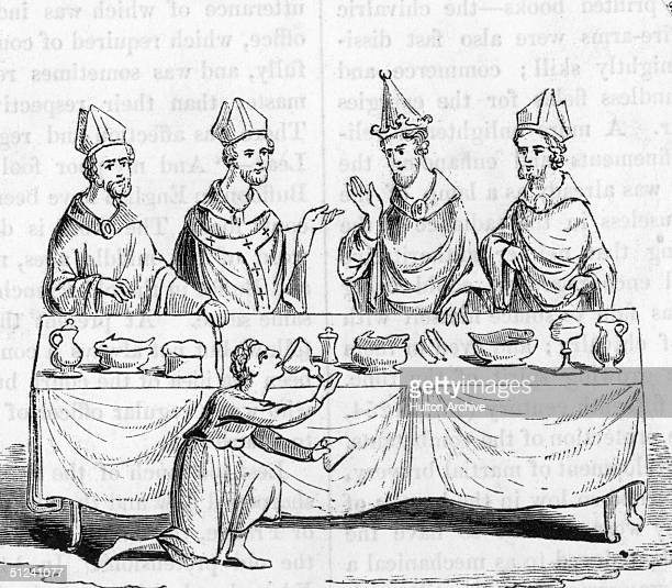 Circa 1400, Servant tasting wine before serving it at Table, watched by Priests, Bishops and a King.