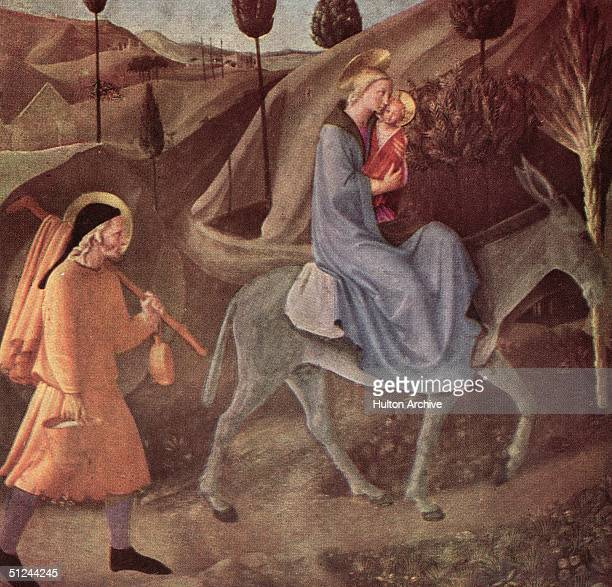 Circa 1430 The Flight Into Egypt' Mary and Joseph fleeing into Egypt with the baby Jesus Original Artist By Fra Angelico