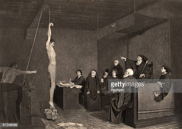 Circa 1450 A fifteenth century tribunal An accused man is tortured in front of the members of the court in order to extract a confession He is hung...