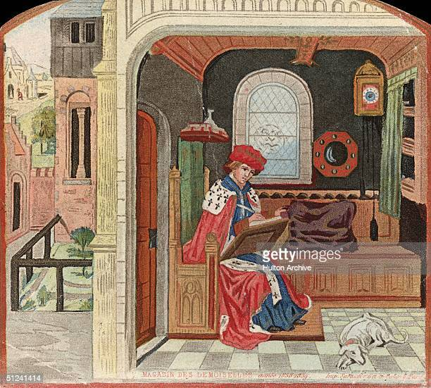 Circa 1450 A medieval master writing with quill and parchment in his study Original Artwork Print from Magasin Des Demoiselles Pub 185859