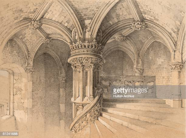 Circa 1450 A view of the interior of the Chateau de Blois in the Loire valley The castle demonstrates the peaceful and successful combination of four...