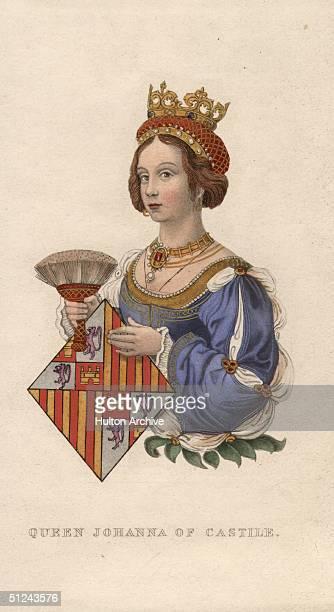 Circa 1450, Juana or Johanna of Portugal, the wife of Henrique IV, King of Castille, shown with her coat of arms.