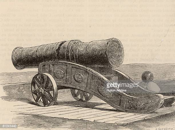 Circa 1450 Mons Meg' was the largest of the English cannons used during the Hundred Years War against the French Cast in 1449 it could shoot a 250kg...