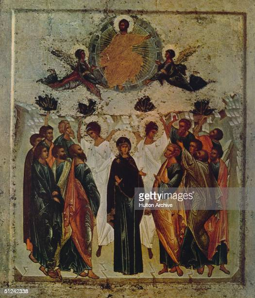 Circa 1450 The Virgin Mary with two archangels and surrounded by the twelve Apostles watches the triumphial ascension of Christ into heaven An icon...