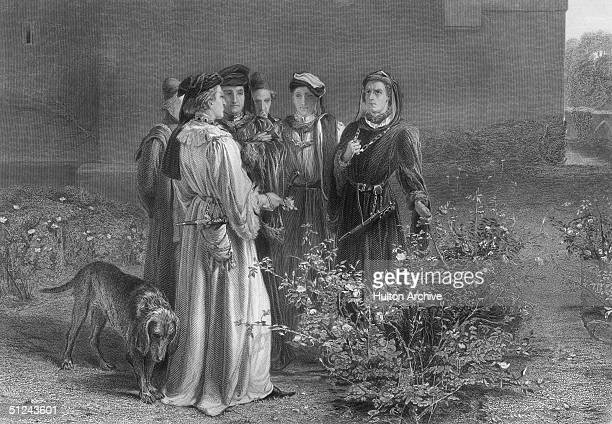 Circa 1455 The scene in the Temple Garden' from Henry VI where the Earls of Somerset Suffolk and Warwick and Richard Plantagenet choose the roses red...
