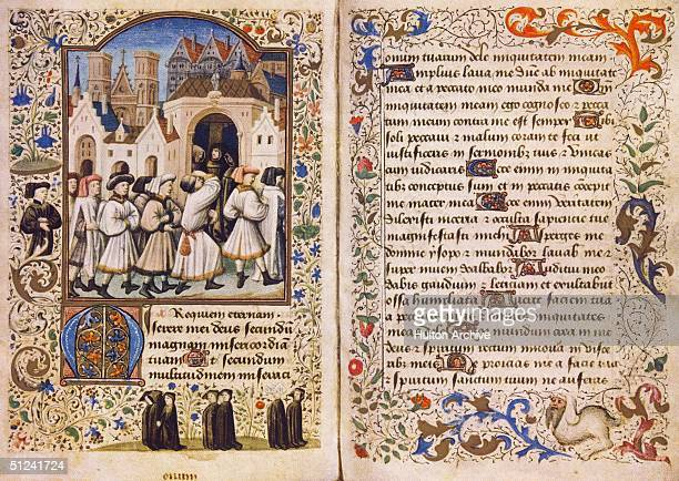 Circa 1460 An illuminated page from a Book of Hours a medieval prayerbook commissioned by Breton nobleman Prigent de Coetivy A procession of men pass...
