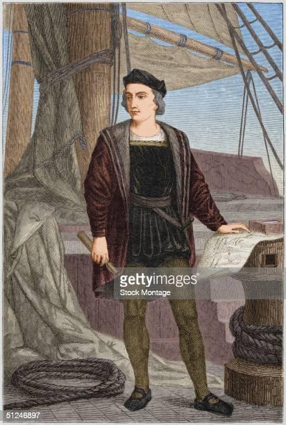 Circa 1475 Italian explorer Christopher Columbus aboard a sailing ship