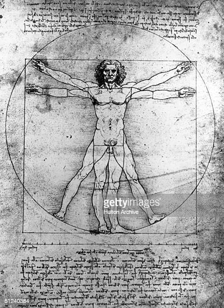 Circa 1480 The imperfect visual solution to Vitruvius' problem of combining a square and a circle and confining within it a man of perfect...