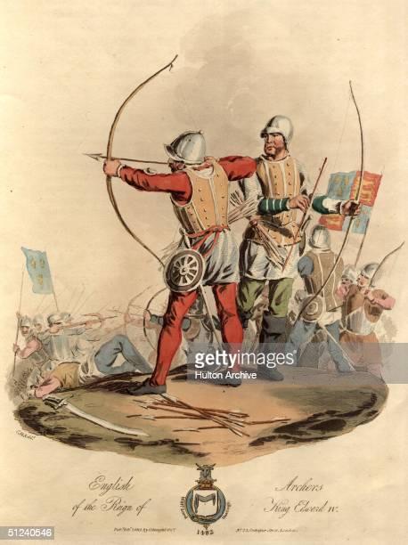 Circa 1482, English archers and longbowmen during the reign of King Edward IV. Original Artwork: Aquatint - pub. 1812
