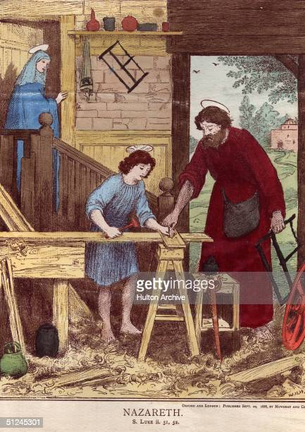 Circa 15 AD, Jesus is taught his father's trade in Joseph's carpentry shop in Nazereth. Luke, chapter 2, verses 51, 52.