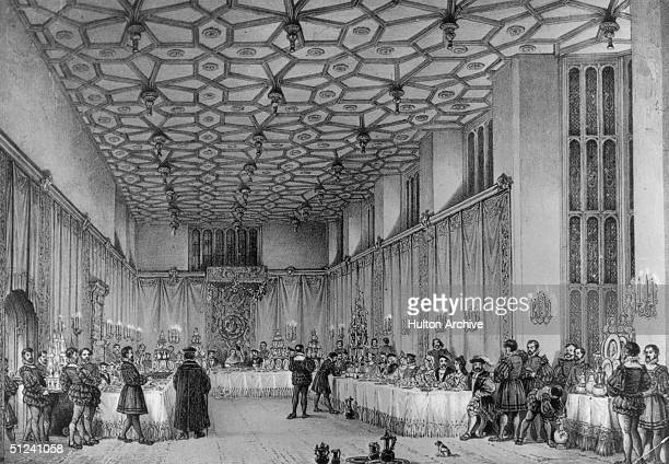 Circa 1500, A banquet held in the Presence Chamber at Hampton Court, Middlesex.