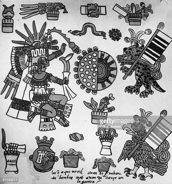 Circa 1500 A page of symbols from an Aztec syllabary with writing added by a Spanish scribe