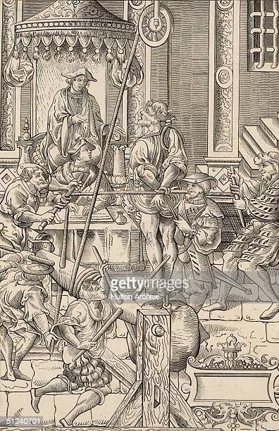 Circa 1500 A sixteenth century tribunal An accused man is tortured in front of the members of the court by stretching with weights and pullies...
