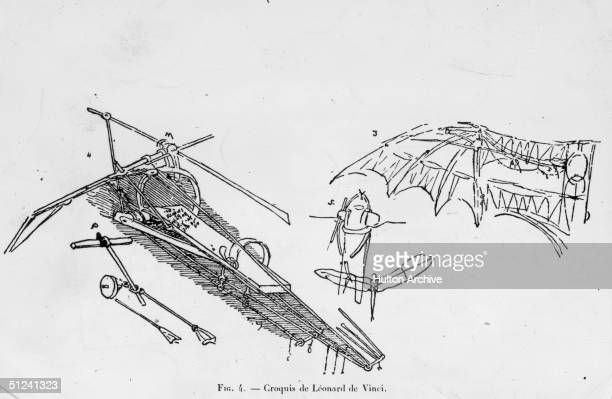 Circa 1500 Sketches by the Florentine artist and engineer Leonardo da Vinci showing his designs for the ornithopter and other flying devices