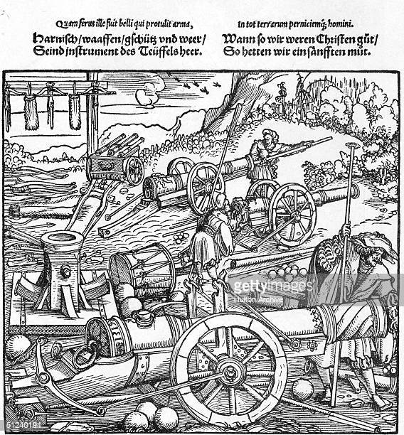 Circa 1500 Soldiers stoking a barrage of heavy cannon before a battle Original Artwork An engraving by Hans Burgkmair