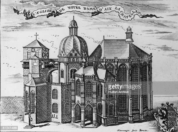 Circa 1500 The cathedral in Aachen Germany The Octagon begun in 796 was based on San Vitale in Ravenna Italy
