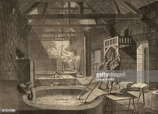 Circa 1500 The processes of cloth dying in a medieval French cloth factory owned by the Gobelins family who originally came from Rheims They later...