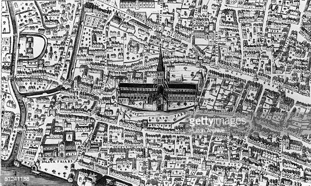 Circa 1505 The Baroque cathedral of St Paul's and its position in the centre of London in the time of King Henry VIII
