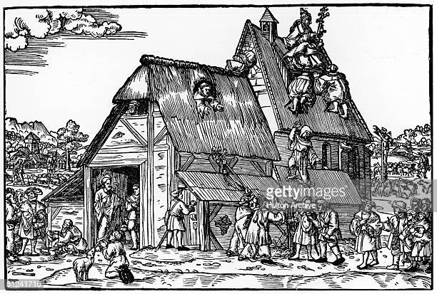 Circa 1520 An allegorical representation of the Pope and the reformation by an unknown artist The 'house' of the church is in a run down state and...