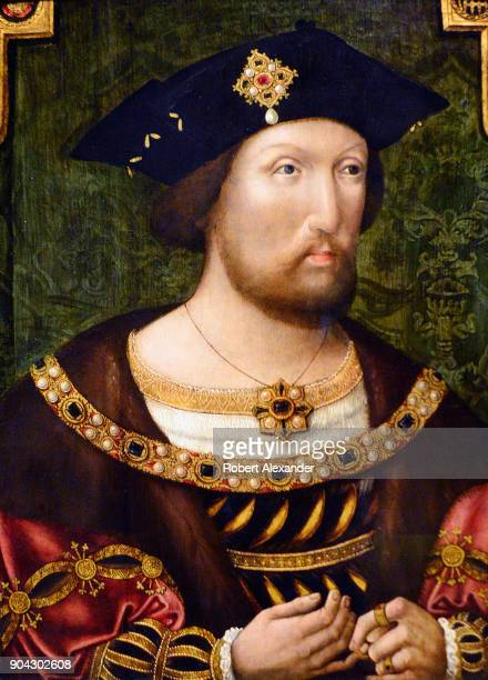 A circa 1520 portrait of England's King Henry VIII by an unknown AngloNetherlandish artist on display at the National Portrait Gallery in London...