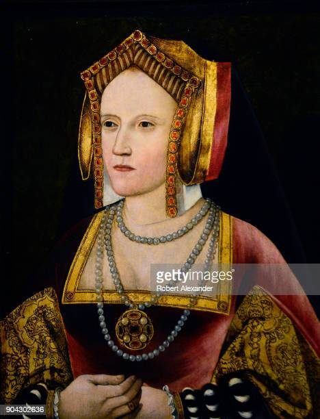 A circa 1520 portrait of Katherine of Aragon by an unknown artist on display at the National Portrait Gallery in London England British King Henry...