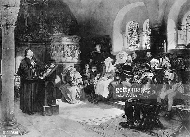 Circa 1521 Martin Luther preaching to a small congregation during his period of voluntary 'imprisonment' at Wartburg castle Original Artist By Hugo...