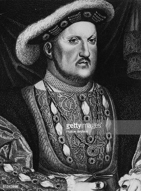 Circa 1530 Henry VIII king of England from 1509 Original Artwork Engraving after a painting by Holbein