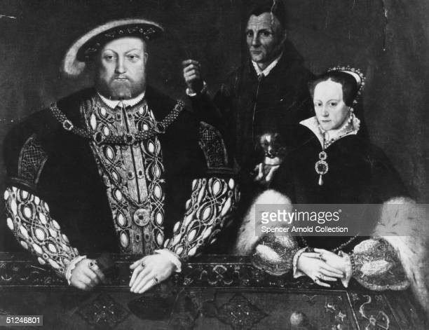 Circa 1536 Tudor King of England Henry VIII with his daughter Princess Mary and William Somers the Jester Original Artist Portrait by Hans Holbein...