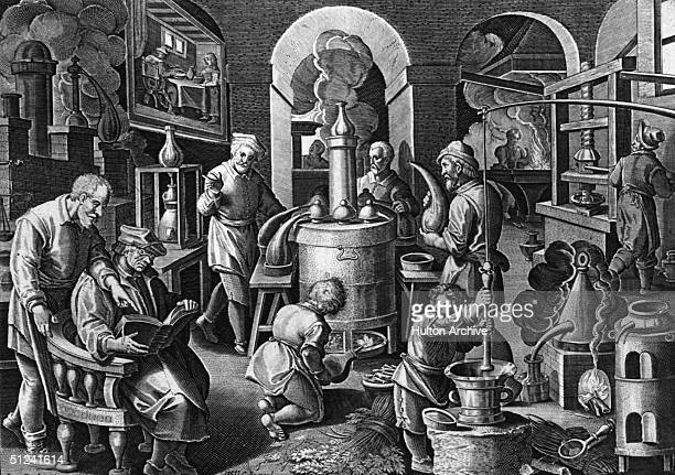 Circa 1550 Alchemists using fire in the distillation process Original Artist By Stradamus