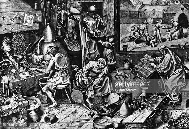 Circa 1560 Alchemists at work Original Artwork Engraving after original work by Pieter Bruegel