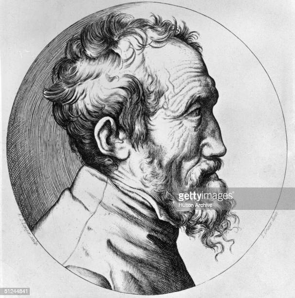 Circa 1560 The Italian sculptor painter and poet Michelangelo Original Artwork Engraving by Bonasone