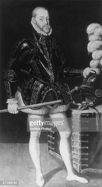 Circa 1565 Philip II of Spain Reign from 1556 Son of Holy Roman Emperor Charles V half brother of Don John of Austria inherited colonies in the New...
