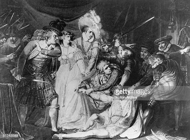 Circa 1566 The murder of Mary Queen of Scots Italian private secretary David Rizzio who was stabbed 57 times on 9th March 1566 in the Queen's...