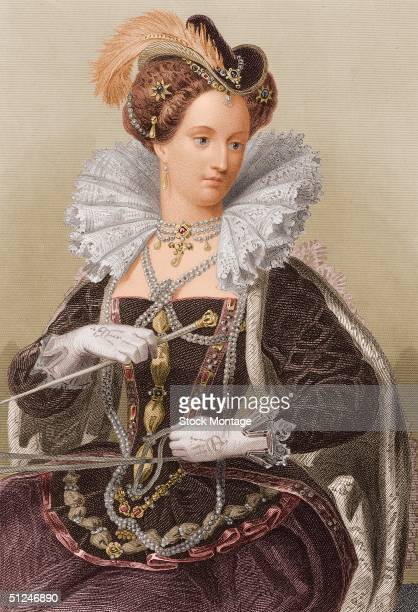Circa 1570 Portrait of Queen Elizabeth I of England Reign 15581603 daughter of Henry VIII and Anne Boleyn Suppressed Catholics