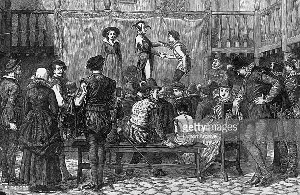 Circa 1580 A performance of Shakespeare's 'As You Like It' at a London inn yard in Elizabethan times