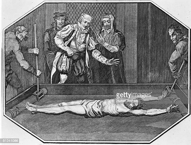 Circa 1580 Cuthbert Simpson being tortured on the rack in the Tower of London during the Christian persecutions