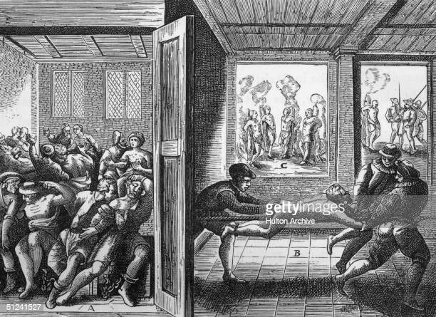 Circa 1585 Tortures allegedly carried out by Protestant Huguenots on Catholic victims in the south of France Left starving Catholics are chained...
