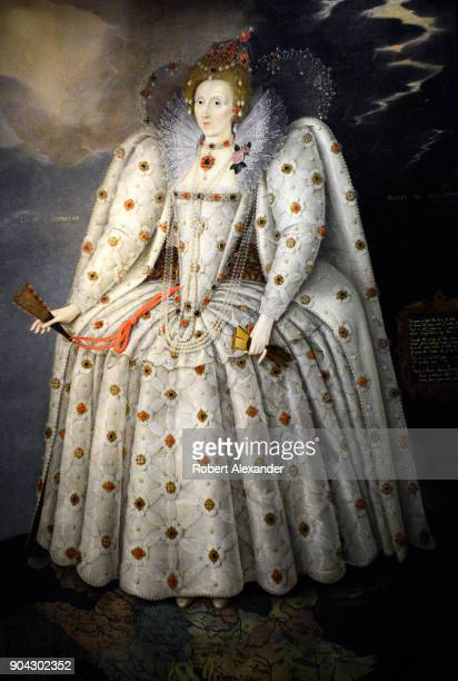 A circa 1592 portrait of England's Queen Elizabeth I by Marcus Gheeraerts the Younger is on display at the National Portrait Gallery in London...