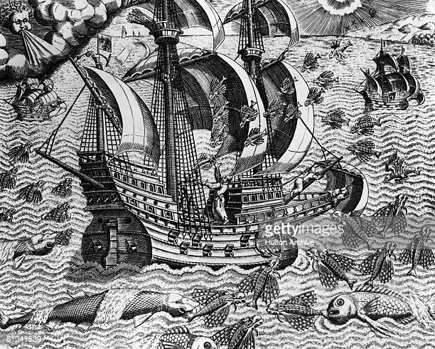 Circa 1594 A Portuguese sailing vessel is surrounded by flying fish