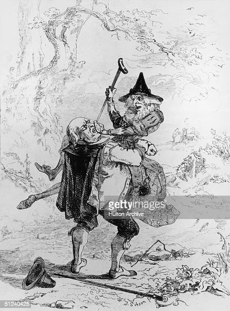Circa 1600, A man attempting to catch a witch. Original Artwork: 'Podgers Catching a Witch' - engraving by J Simpson.