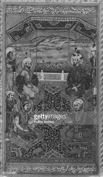 Circa 1600 Indian Mughal Emperors Babur Emperor Akbar Emperor Jahangir and Emperor Humayun