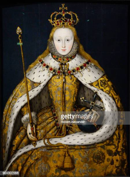 A circa 1600 portrait of England's Queen Elizabeth I by an unknown English artist on display at the National Portrait Gallery in London England The...