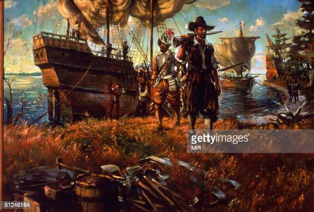 Circa 1607 Settlers landing on the site of Jamestown Virginia the first permanent English settlement in America