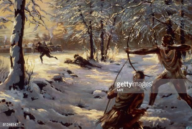 Circa 1608 An attack on the settlement at Jamestown Virginia