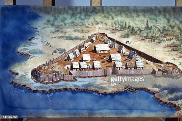 Circa 1608 Jamestown Fort in Virginia one of the earliest settlements in North America