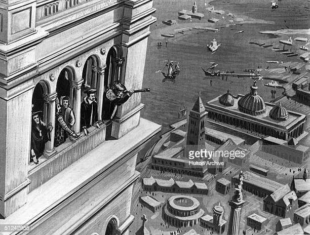 Circa 1608 Senators and noblemen of Venice viewing ships in the harbour through Galileo's invention the telescope